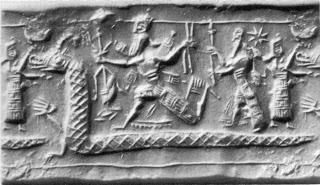 Cilindro sello representando el combate de Marduk conta Apsu y Tiamat